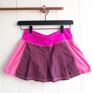 Lululemon Fast Cat Pink Striped Tennis Skirt